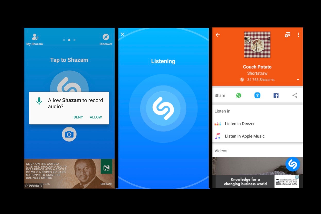 MobApp,Apps,Shazam,Review,Utility,Available,Android,iOS,Rating,Song,Remember,Name,New song,App store,Download,Explore,Account,Recommended,Tap to Shazam,Autoshazam,Icon,Verify,Email,Address,App,Save,Scan,Icons,Unlock,Features,Settings,Changes,Phone,Listen,Speed,Accuracy,Music video,Lyrics,Similar songs,Search,Delete,Discover,Collect,favourite,