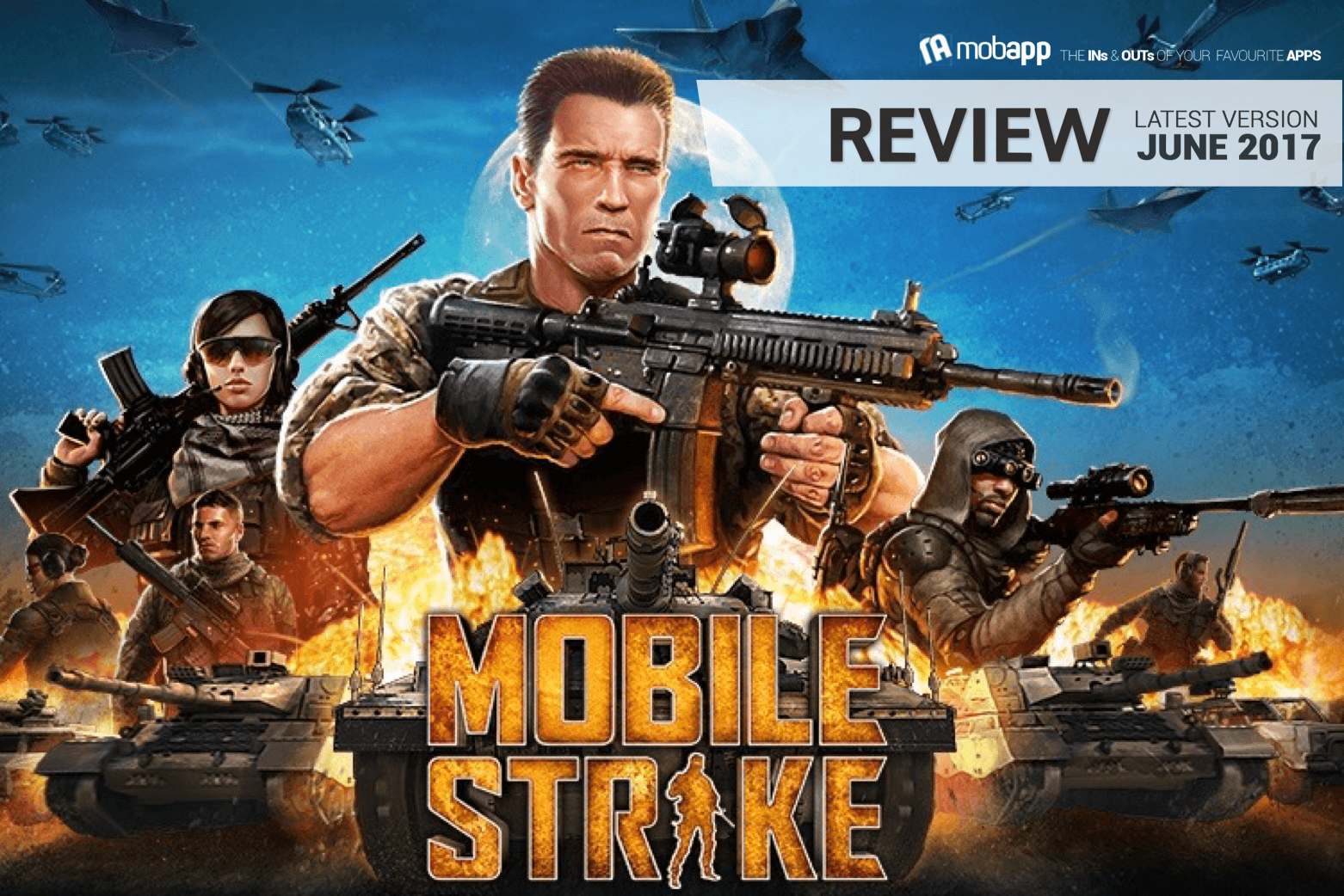 mobapp,apps,reviews,mobile strike,review,action,Arnold Schwarzenegger,famous,game,gameplay,building,upgrading,military base,real-time,android,iOS,rating,action hero,feedback,players,TV commercials,strategy formula,tap and wait,planning,post-battle reward,visual effects,player chats,video,