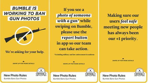 Ban on gun photos,Gun control,Bumble,Social,Apps,Appnations,